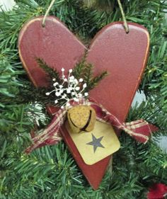 Primitive Heart Christmas Ornament