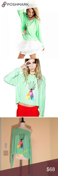 👁Wildfox All Seeing Eye Monte Carlo Crop Sweater New Wildfox Couture All Seeing Eye Monte Crop Sweater, watchin' them watch you. This pullover sweater is beyond plush feelin'. Featurin' a rad rainbow pyramid topped with an all seeing eye and is exxxtra comfy with it's scoop neckline and slightly cropped fit. We know you see all, so tell us the deets girl. Wildfox Tops Crop Tops