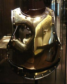 French cuirass struck by a cannonball at he Battle of Waterloo, 1815. Formerly owned by Antoine Laveau.