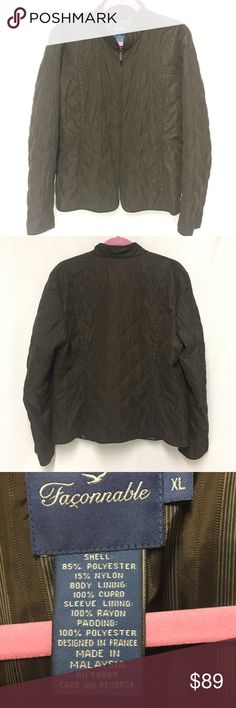 Faconnable Quilted Jacket Faconable, Brown quilted zip-up Jacket with 2 open pockets in front, Princess seam darts in back, full zipper in front. Excellent condition. Faconnable Jackets & Coats