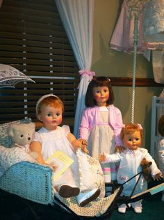 I love the vintage ideal dolls!! Pictured here are suzy and patti playpal dolls along with kissy!