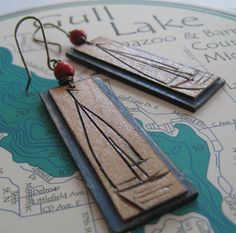 Items similar to Wood Burned Sailboat on Etsy Wood Burning Crafts, Wood Burning Patterns, Wood Burning Art, Wood Crafts, Wooden Jewelry, Leather Jewelry, Wooden Necklace, Stone Jewelry, Wood Earrings