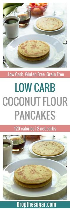Low Carb Coconut Flour Pancakes   a low carb pancake recipe made entirely with coconut flour. If you're sick of eggs, then make sure to add this to your low carb breakfast list! Pin now to make later!