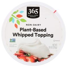365 Plant-Based Whipped Topping Reviews and Info - Non-Dairy, Dairy-Free, Vegan, and Nut-Free. Also Certified Kosher Pareve and Non-GMO Verified. A Whole Foods Generic and Cool Whip tub-style copycat. Dairy Free Recipes, Vegan Recipes, Food Website, Whipped Topping, Whole Foods Market, Free Products, Nut Free, Natural Flavors, Food Allergies