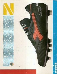 SCARPE CALCIO DIADORA Anni 80 Soccer Gear, Soccer Boots, Soccer Cleats, Marco Van Basten, Diadora Sneakers, Football Kits, Vintage Football, All Black Sneakers, Advertising