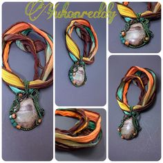 Jasper in enameled copper with swarovski crystal and sunstone accents on silk ribbon.