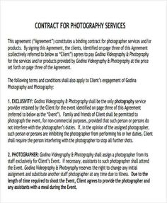 Basic Contract For Wedding Videography Services 20 Photography