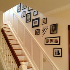 stairwell picture frame arrangement....not exactly like this but I did it none-the-less :)  Although, i think I want the G in this pict! hehe