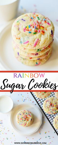 Rainbow Sugar Cookies   Funfetti Sugar Cookies   Sugar Cookies   Sugar Cookie Recipe   Easy Sugar Cookie Recipe   Unicorn Food   Unicorn Dessert   Rainbow Dessert   Cookies with Sprinkles   #rainbowfood #sugarcookies #cookierecipe