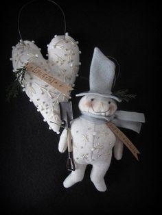 Heart and Snowman White Christmas Ornaments E-PATTERN by cheswickcompany