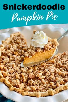 Snickerdoodle Pumpkin Pie is the perfect dessert for your holiday gathering! It's a cross between a pie and a cookie! #snickerdoodle #cookie #pumpkinpie | QuicheMyGrits.com Savory Pumpkin Recipes, Easy Pie Recipes, Tart Recipes, Sweet Recipes, Dessert Recipes, Dessert Ideas, Baking Recipes, Thanksgiving Desserts, Holiday Desserts