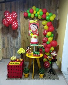 Festa da Magali. #magali #turmadamonica #festa Turtle Birthday, Girl Birthday, Happy Birthday, Birthday Cake, Jana Ina, Watermelon Birthday Parties, Alice, Paw Patrol Birthday, Mermaid Parties
