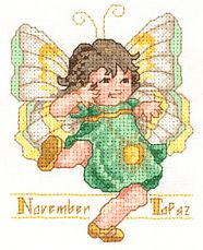 Toddler Birthstone Fairy November Topaz Cross Stitch Pattern 1/5