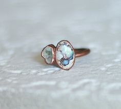 Natural Opal Copper Ring. Metal►Copper Stone►Opal Ring Size: US 7.5 Two gorgeous pieces of natural opal electroformed in copper