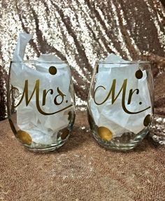 Mr. & Mrs. Gold Polka Dot Stemless Wine Glasses