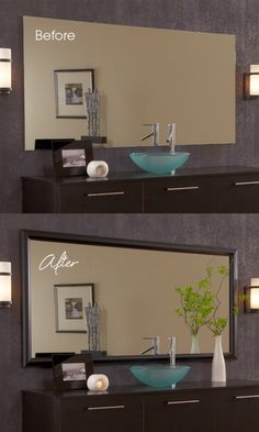 Get a high end look with the addition of a custom MirrorMate mirror frame. Goes up in minutes. Finishes the room instantly.