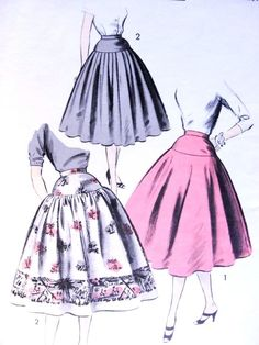 1950s Sew Easy Skirts Pattern Advance 7748  Circle Skirt Attached To Smooth Hip Yoke 3 Style Versions Waist 24 Vintage Sewing Pattern