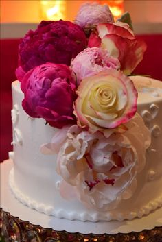 Delicious Tres leches cake decorated with Roses and Peonies by KettyDelights