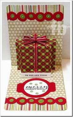 Frances Byrne using the Pop 'n Cuts Base, the Multi-Tier Insert, the Banner & Borders Thinlits and the Circle & Label Stitched Framelits. How clever! Pop Up Cards, Cute Cards, Diy Cards, Holiday Cards, Christmas Cards, Fancy Fold Cards, Folded Cards, Shaped Cards, Noel Christmas