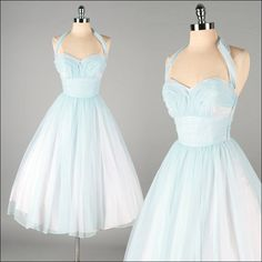 Vintage 1950s Blue Chiffon Halter Dress with Sweetheart Neckline and Full Skirt