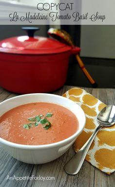 Copycat La Madeleine Tomato Basil Soup (SUPER easy, kid-friendly, NO CHOPPING!) - An Appetite For Joy