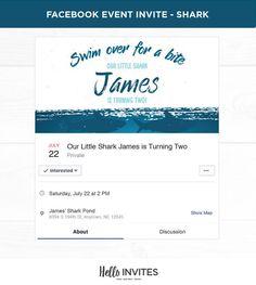 Shark Birthday Facebook Event Invitation Blue Boy Ocean Digital Invite