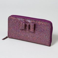 Sparkle with a Glitter Bow Zip-Around Wallet