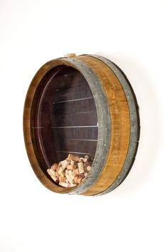 Kala - Wall Mounted Wine Barrel Cork Display / Made from retired Napa wine barrels - Recycled! Barrel Rings, California Wine, Idee Diy, Displaying Collections, Rustic Elegance, Solid Oak, Wood Crafts, Wall Mount, Decoration