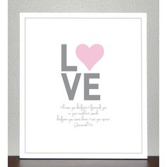 """Baptism Gift - Nursery Decor - LOVE - bible verse ( pink and gray )- Jeremiah 1:5"" found on Polyvore"