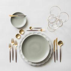 The Signature Collection Charger + Heath Ceramics in Mist + GOA 24K Gold Flatware + 14K Gold Salt Cellars + Chloe Gold Rimmed Stemware | Casa de Perrin Design Presentation