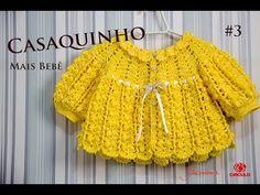 Crochet cardigan for baby size RN to 1 month Professor Simone Eleotério Crochet Hooded Scarf, Crochet Baby Cardigan, Crochet Coat, Baby Girl Crochet, Crochet Baby Clothes, Crochet Blouse, Crochet For Kids, Crochet Lace, Crochet Videos