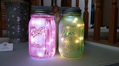 Fairy Jars: -Any glass jar -Martha Stewart Paints -LED Lights (battery) #Fairy #Jar #DIY #MarthaStewartPaints #LED
