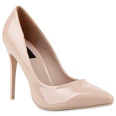 Spitze Damen Pumps Lack Stiletto High Heels Metallic Party Glitzer Abiball Hochzeit Schuhe 114338 Creme 38   Flandell®