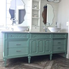 Angie from The Painted Piano had her own custom color mixed up specially to transform a dresser into this stunningly unique bathroom vanity!
