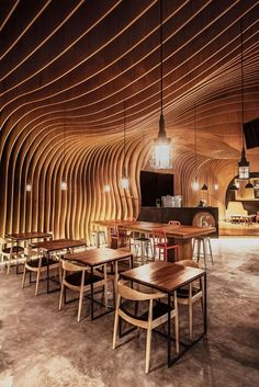 Undulating timber slats give a cozy Jakarta coffee shop by an intimate cave-like ceiling. : courtesy of the designers. - Architecture and Home Decor - Bedroom - Bathroom - Kitchen And Living Room Interior Design Decorating Ideas - Deco Restaurant, Restaurant Design, Architecture Restaurant, Interior Architecture, Exterior Design, Interior And Exterior, Timber Slats, Timber Ceiling, Plafond Design