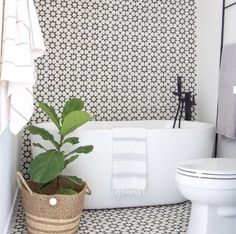 This cement tile is a black and white tile with a geometric design. This concrete tile offers a modern feel for your space. Shop the Estrella Black tile today. Black And White Tiles, Laundry In Bathroom, White Tiles, Home Decor, Bathroom Renovations, Amazing Bathrooms, Cement Tile, Bathroom Decor, Bathroom Inspiration