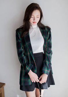 Plaid One-Button Jacket | Korean Fashion #chuu