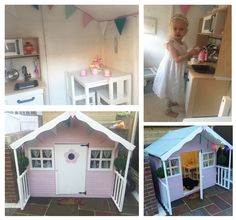 The playhouse was painted and decorated by our customer Beki. Perfect little outdoor playhouse for girls. Painted Playhouse, Inside Playhouse, Playhouse Decor, Simple Playhouse, Playhouse Interior, Girls Playhouse, Backyard Playhouse, Build A Playhouse, Wooden Playhouse