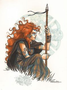 Budicca. by Claudia-SG female Viking warrior spear javelin hunter huntress nomad fighter armor clothes clothing fashion player character npc   Create your own roleplaying game material w/ RPG Bard: www.rpgbard.com   Writing inspiration for Dungeons and Dr