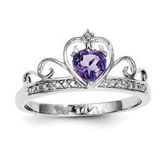 Sterling Silver Diamond And Heart Shaped Amethyst Crown Ring - 6 / Sterling Silver