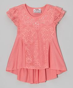 Loving this Coral Lace Angel-Sleeve Tee on #zulily! #zulilyfinds