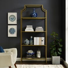 Crosley Furniture Aimee Etagere Bookcase - Gold and Glass Tempered Glass Shelves, Etagere Bookcase, Furniture Assembly, Online Furniture, City Furniture, Open Shelving, Bookshelves, Decorative Items, Design Inspiration