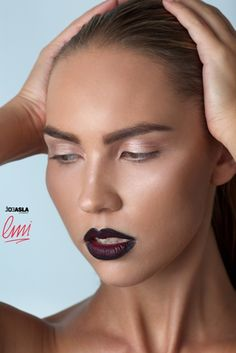 Dark lips, nude eye shadow- makeup idea. Makeup from London Makeup Institute students