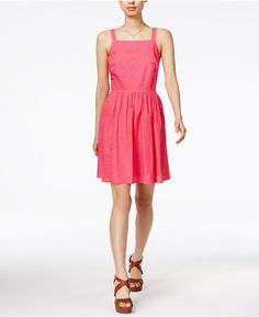 Maison Jules Laser-Cut Fit & Flare Dress, Created for Macy's