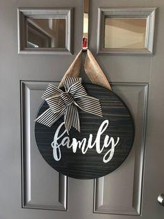 Family Door Sign, Wall Decor, Family Door Hanger, Round Door Sign, Front Door Sign, Anniversary Gift, Wood Door Hanger, All Year Door Hanger by BrickhouseDesignComp on Etsy https://www.etsy.com/listing/583826247/family-door-sign-wall-decor-family-door