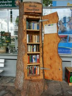 I LOVE THIS IDEA. A book Exchange tree