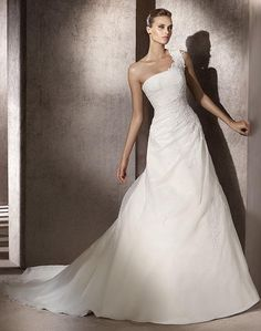 A-line One Shoulder Strap Applique Bodice Organza Wedding Dress-wa0324, $269.95