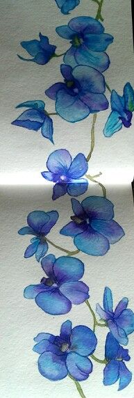 On 140lb. Watercolor paper, these blue orchids were painted with grumbacher watercolors..