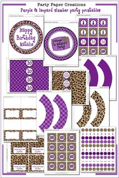 Purple Leopard Slumber Party Decor  Pajama by partypapercreations, $22.00