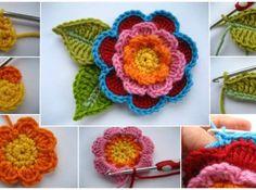 Üç Katmanlı Örgü Çiçek Motifi